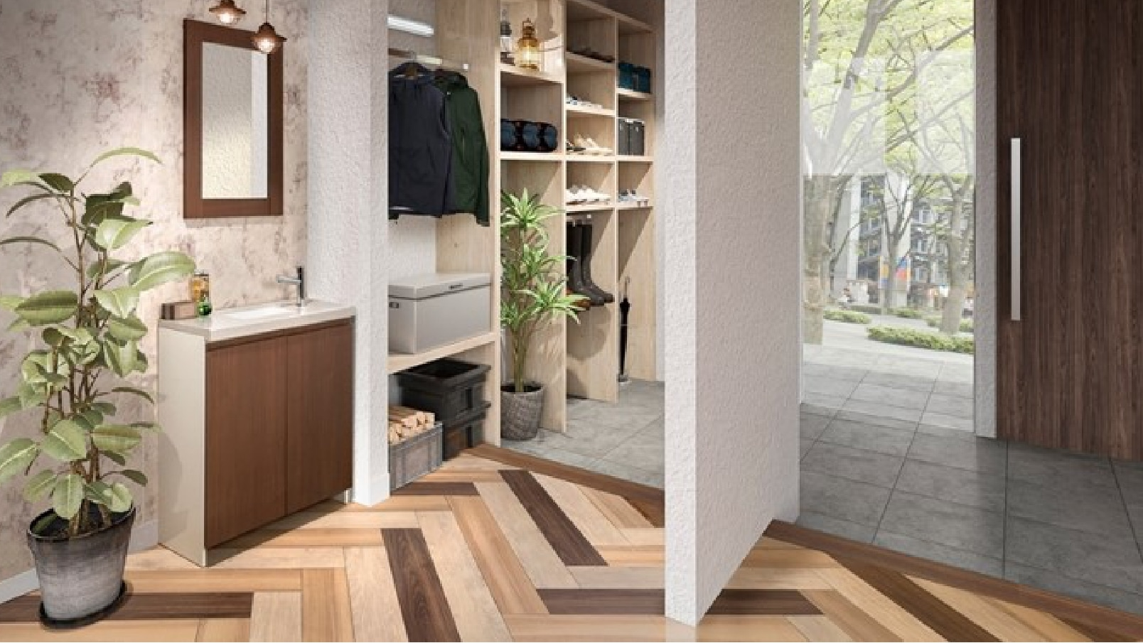 イメージ画像:玄関廻りに洗面台を設置した例